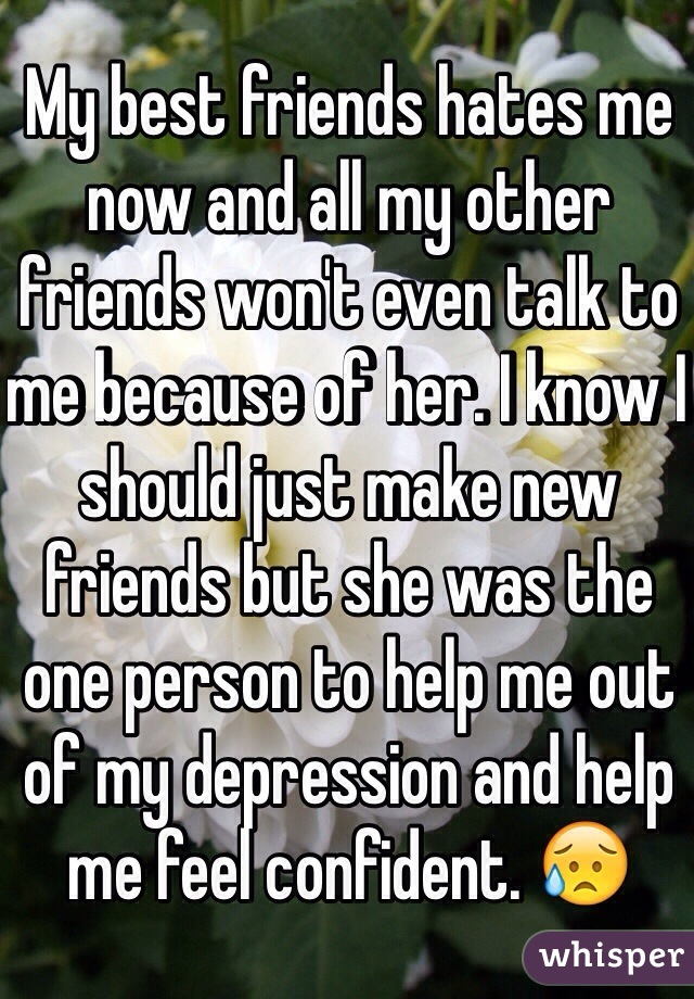 My best friends hates me now and all my other friends won't even talk to me because of her. I know I should just make new friends but she was the one person to help me out of my depression and help me feel confident. 😥