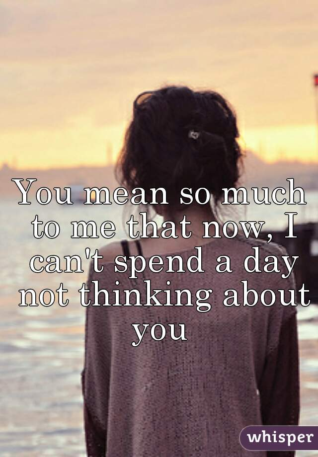 You mean so much to me that now, I can't spend a day not thinking about you