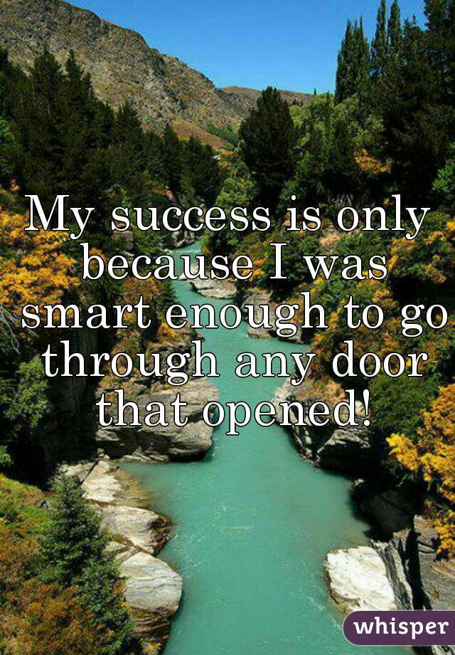 My success is only because I was smart enough to go through any door that opened!