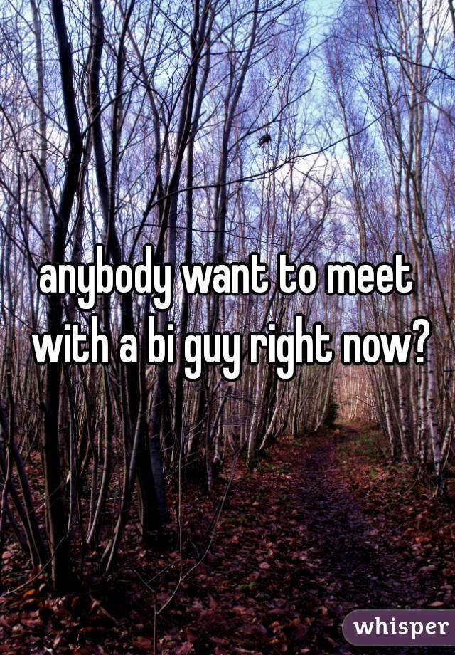 anybody want to meet with a bi guy right now?