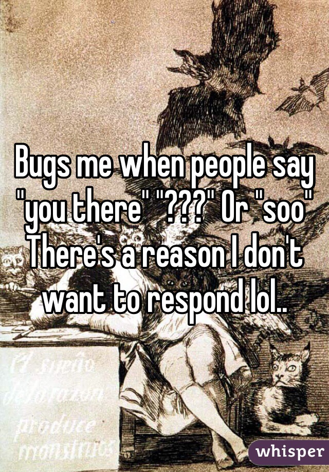 "Bugs me when people say ""you there"" ""???"" Or ""soo"" There's a reason I don't want to respond lol.."