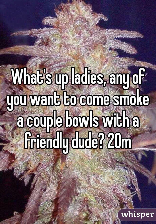 What's up ladies, any of you want to come smoke a couple bowls with a friendly dude? 20m