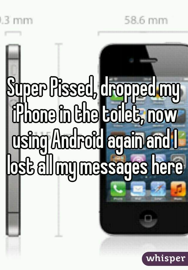 Super Pissed, dropped my iPhone in the toilet, now using Android again and I lost all my messages here