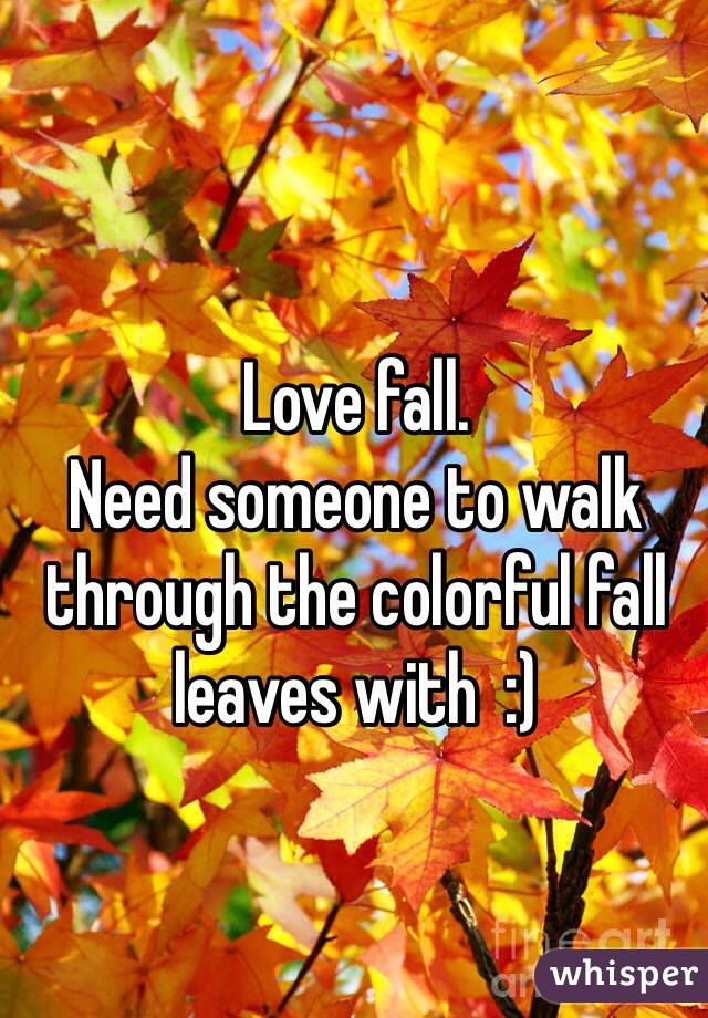 Love fall. Need someone to walk through the colorful fall leaves with  :)