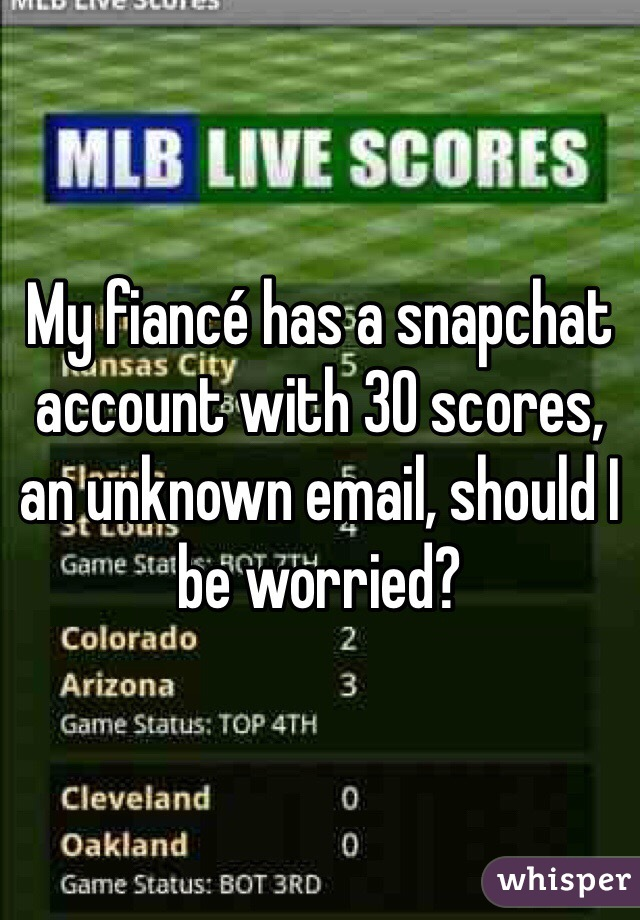 My fiancé has a snapchat account with 30 scores, an unknown email, should I be worried?