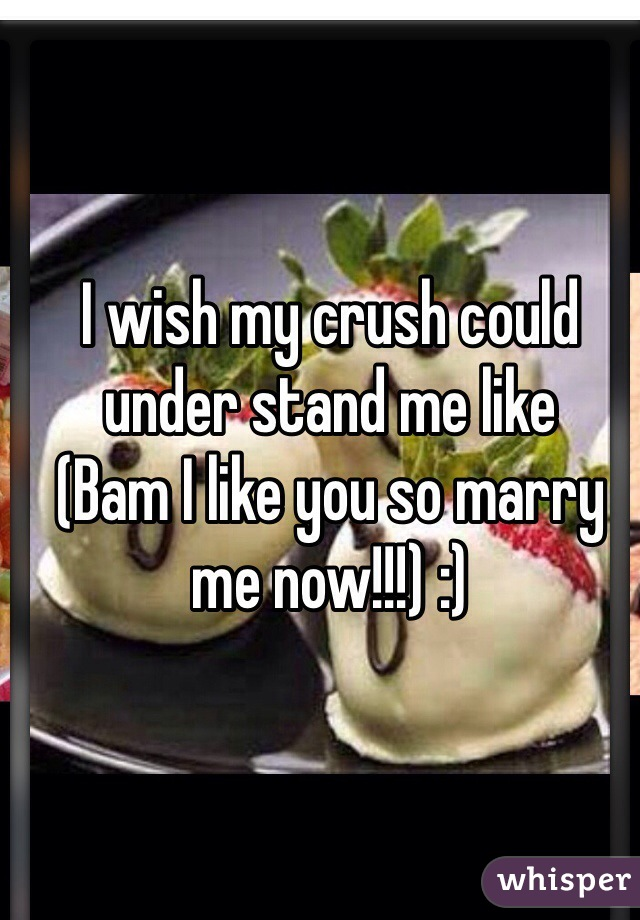 I wish my crush could under stand me like (Bam I like you so marry me now!!!) :)