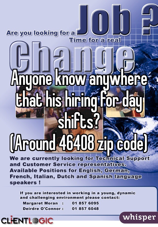 Anyone know anywhere that his hiring for day shifts? (Around 46408 zip code)