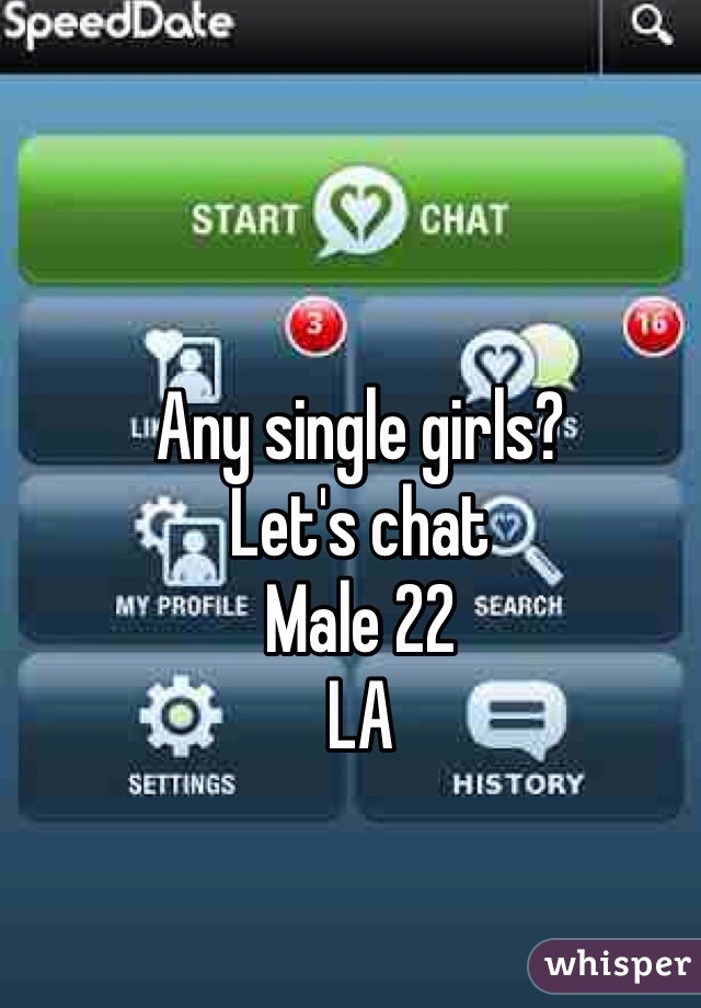Any single girls?  Let's chat Male 22 LA