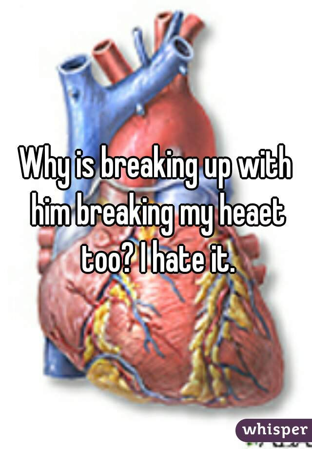 Why is breaking up with him breaking my heaet too? I hate it.