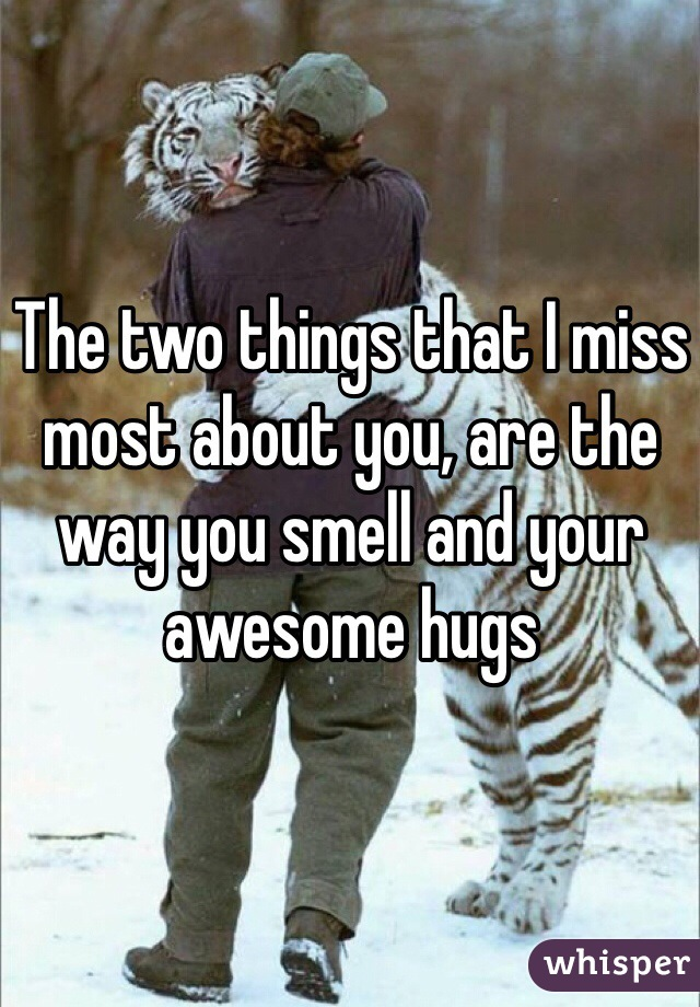 The two things that I miss most about you, are the way you smell and your awesome hugs