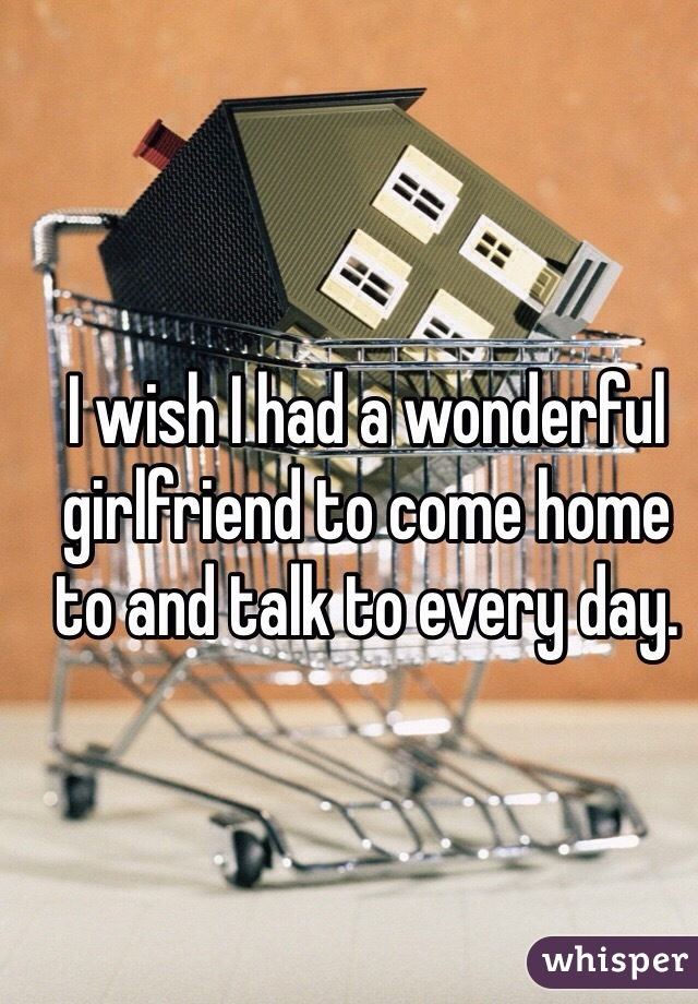 I wish I had a wonderful girlfriend to come home to and talk to every day.