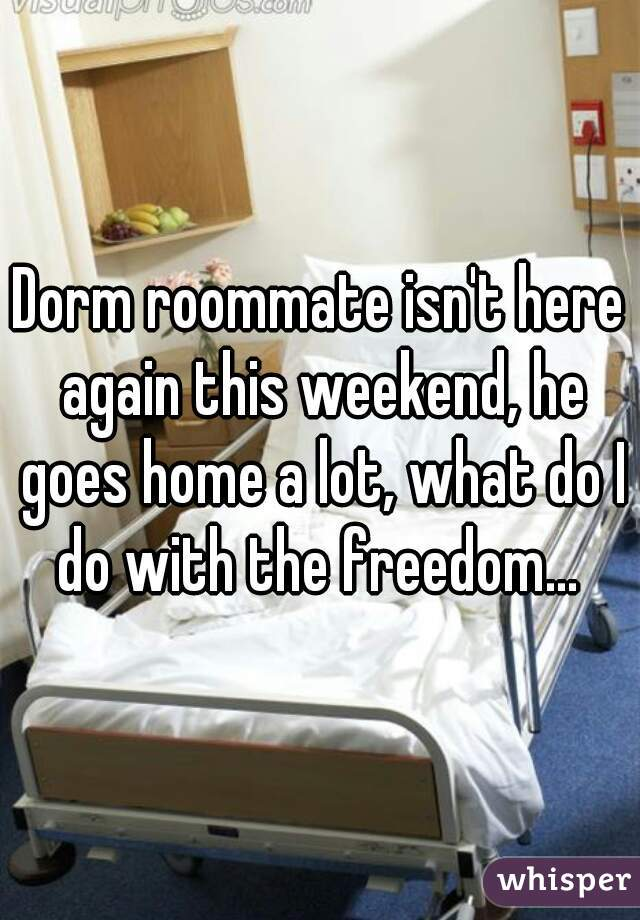 Dorm roommate isn't here again this weekend, he goes home a lot, what do I do with the freedom...