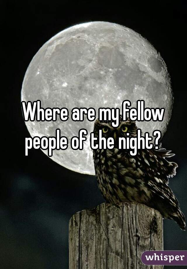 Where are my fellow people of the night?
