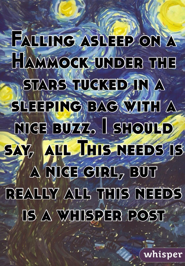 Falling asleep on a Hammock under the stars tucked in a sleeping bag with a nice buzz. I should say,  all This needs is a nice girl, but really all this needs is a whisper post