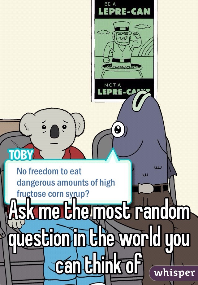 Ask me the most random question in the world you can think of