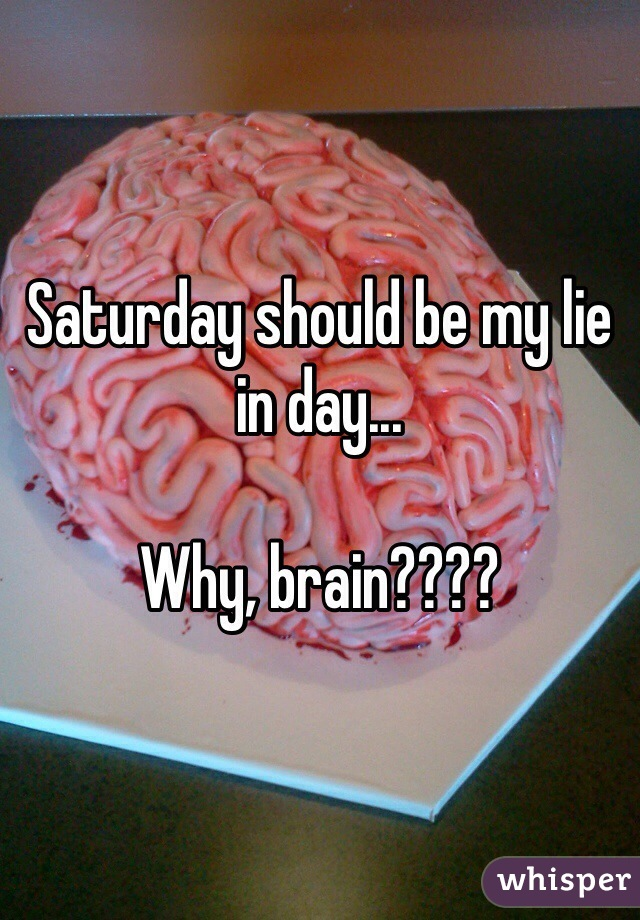 Saturday should be my lie in day...  Why, brain????