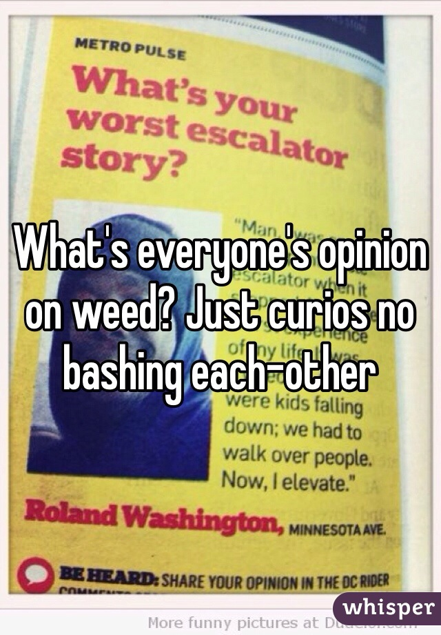 What's everyone's opinion on weed? Just curios no bashing each-other