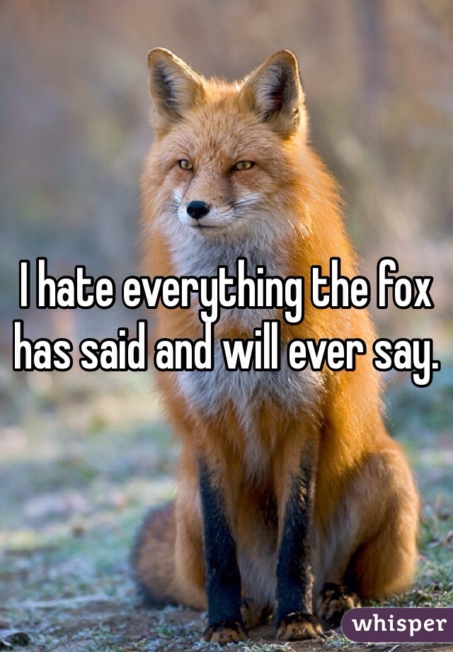 I hate everything the fox has said and will ever say.