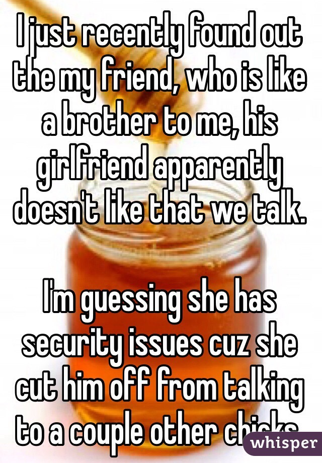 I just recently found out the my friend, who is like a brother to me, his girlfriend apparently doesn't like that we talk.   I'm guessing she has security issues cuz she cut him off from talking to a couple other chicks.