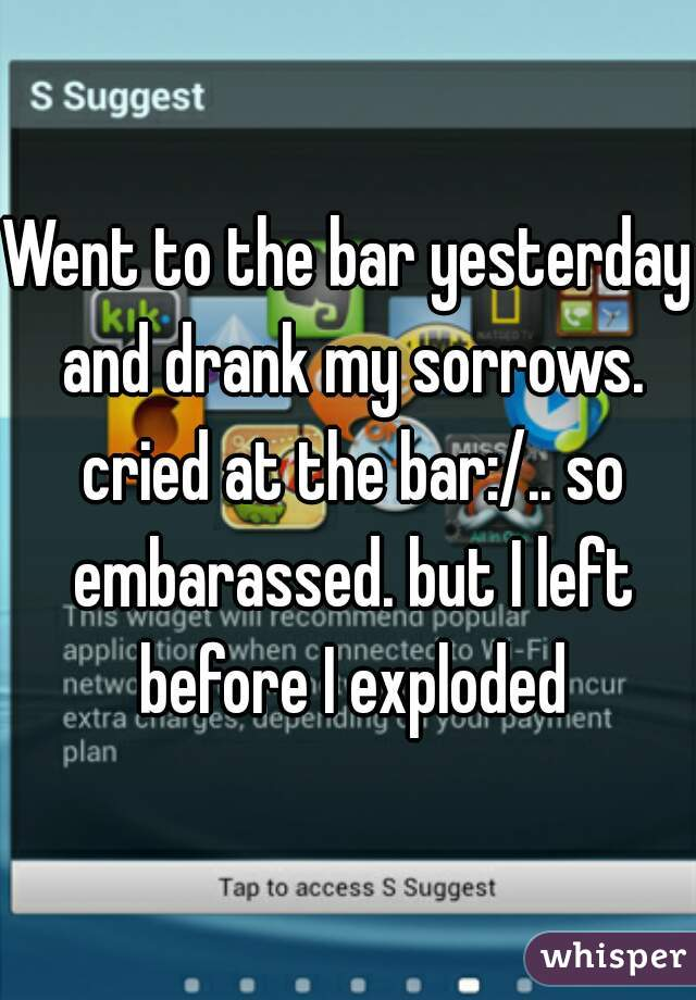 Went to the bar yesterday and drank my sorrows. cried at the bar:/.. so embarassed. but I left before I exploded