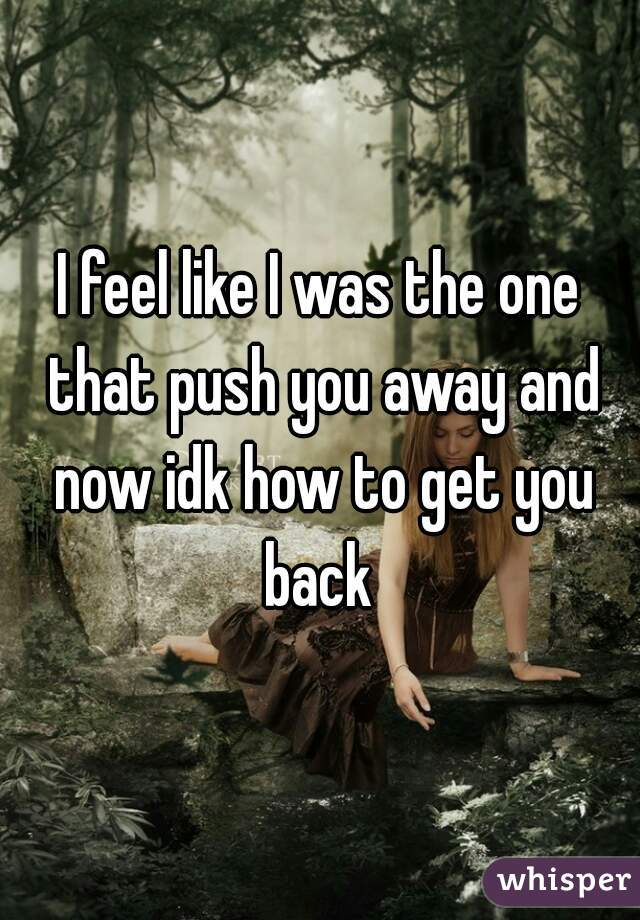 I feel like I was the one that push you away and now idk how to get you back