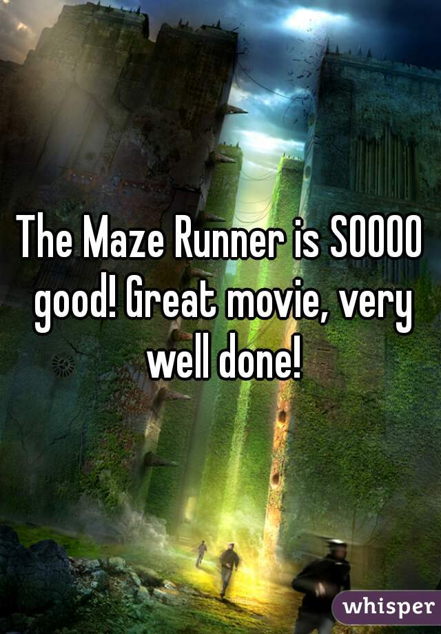 The Maze Runner is SOOOO good! Great movie, very well done!