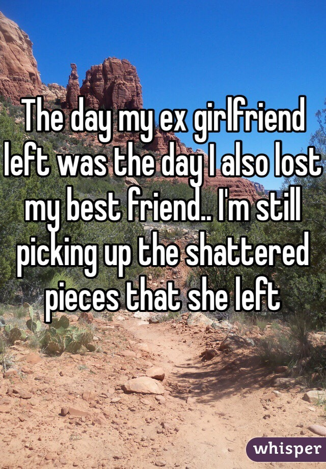 The day my ex girlfriend left was the day I also lost my best friend.. I'm still picking up the shattered pieces that she left