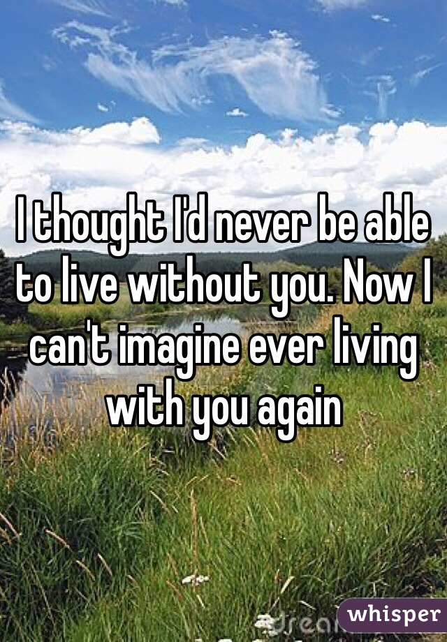 I thought I'd never be able to live without you. Now I can't imagine ever living with you again