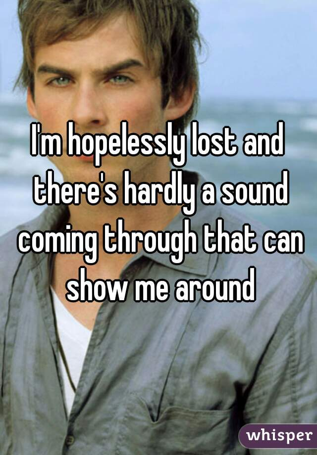I'm hopelessly lost and there's hardly a sound coming through that can show me around