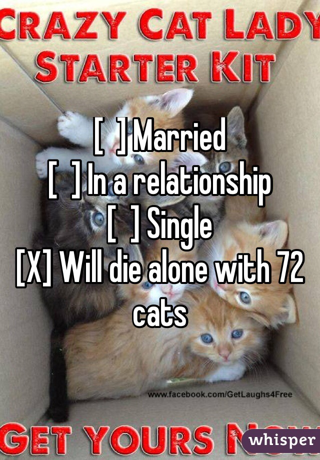 [  ] Married [  ] In a relationship [  ] Single [X] Will die alone with 72 cats