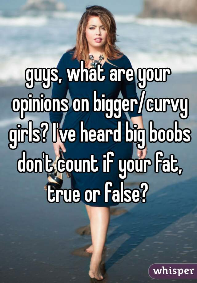 guys, what are your opinions on bigger/curvy girls? I've heard big boobs don't count if your fat, true or false?