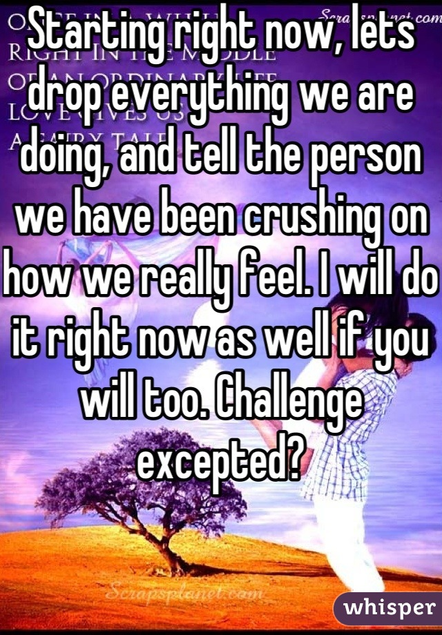 Starting right now, lets drop everything we are doing, and tell the person we have been crushing on how we really feel. I will do it right now as well if you will too. Challenge excepted?