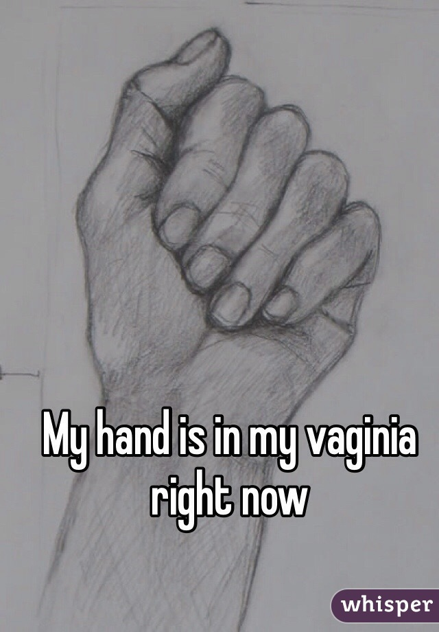 My hand is in my vaginia right now