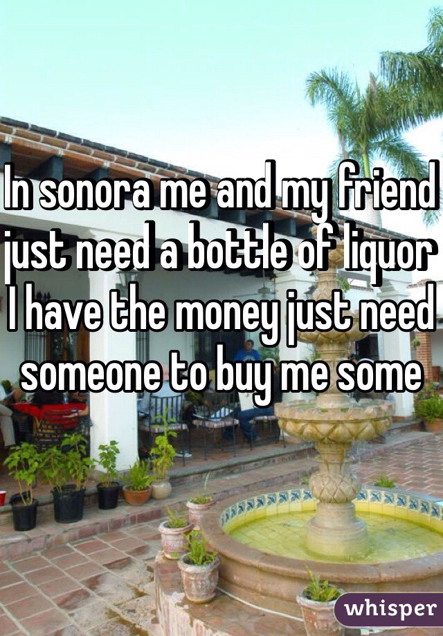 In sonora me and my friend just need a bottle of liquor I have the money just need someone to buy me some