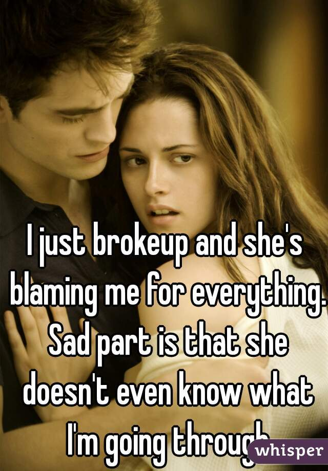 I just brokeup and she's blaming me for everything. Sad part is that she doesn't even know what I'm going through