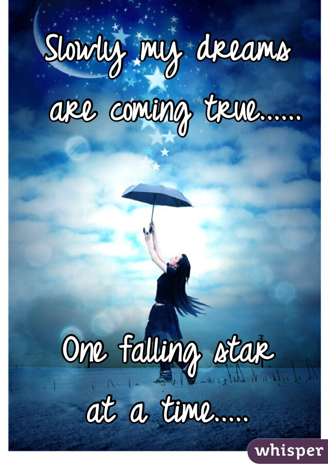 Slowly my dreams  are coming true......    One falling star  at a time.....