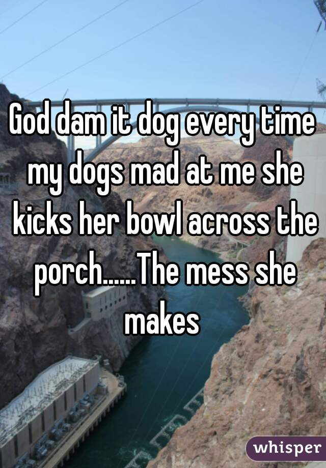 God dam it dog every time my dogs mad at me she kicks her bowl across the porch......The mess she makes