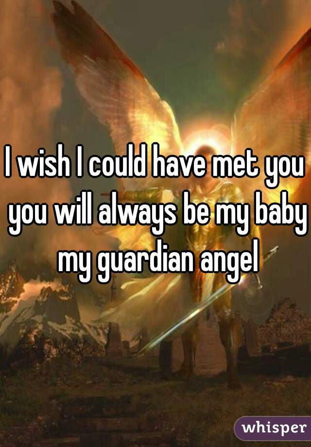I wish I could have met you you will always be my baby my guardian angel