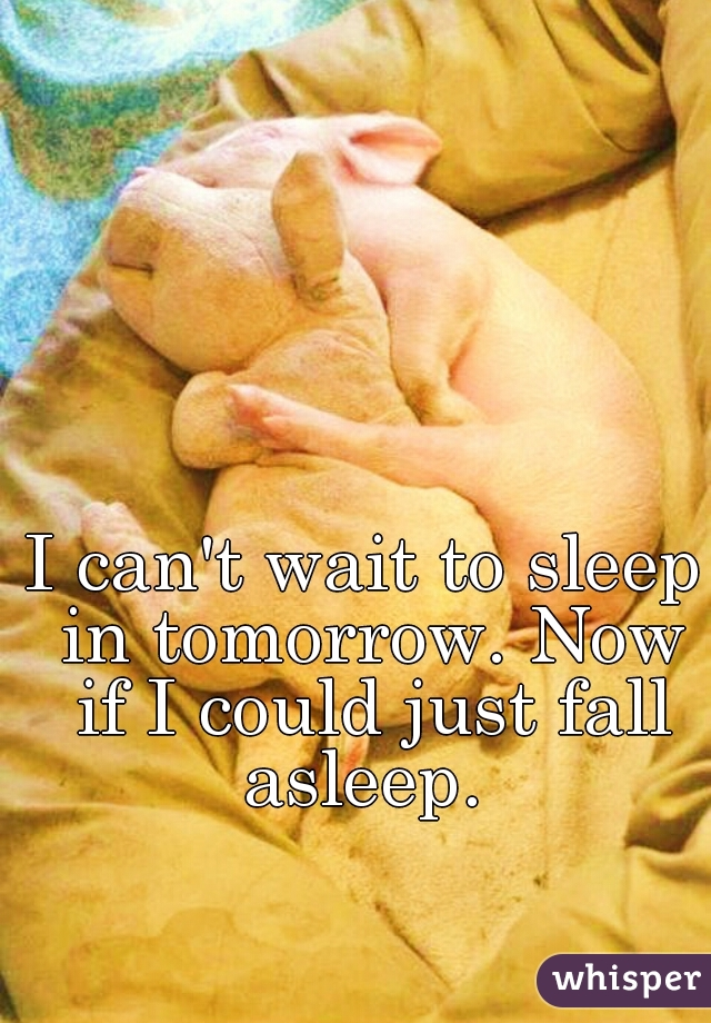 I can't wait to sleep in tomorrow. Now if I could just fall asleep.