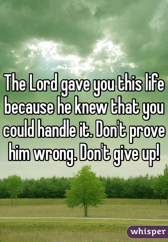 The Lord gave you this life because he knew that you could handle it. Don't prove him wrong. Don't give up!
