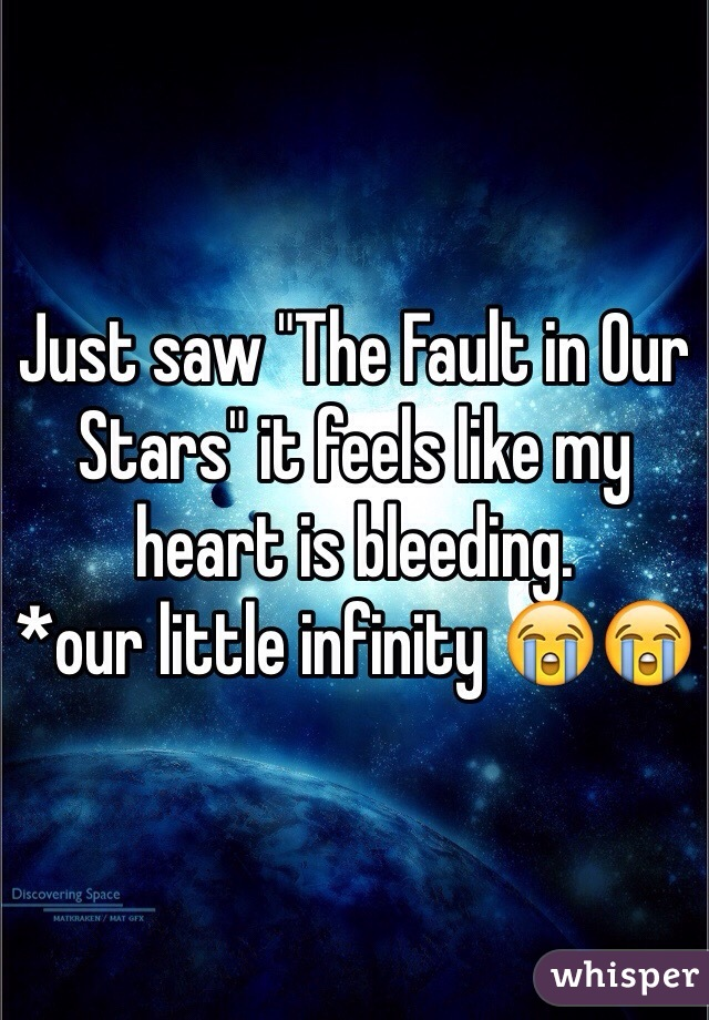 """Just saw """"The Fault in Our Stars"""" it feels like my heart is bleeding. *our little infinity 😭😭"""