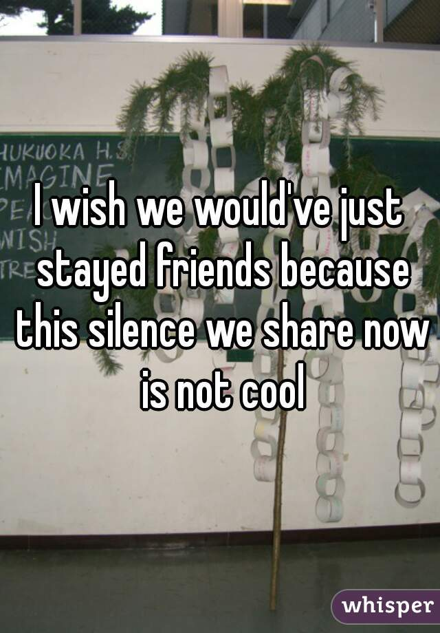 I wish we would've just stayed friends because this silence we share now is not cool