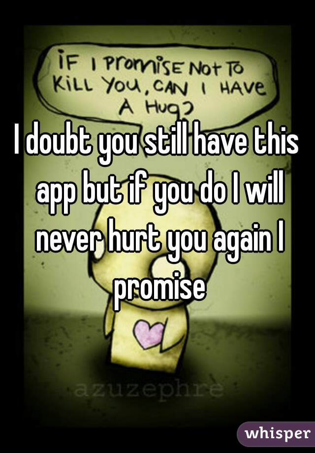 I doubt you still have this app but if you do I will never hurt you again I promise