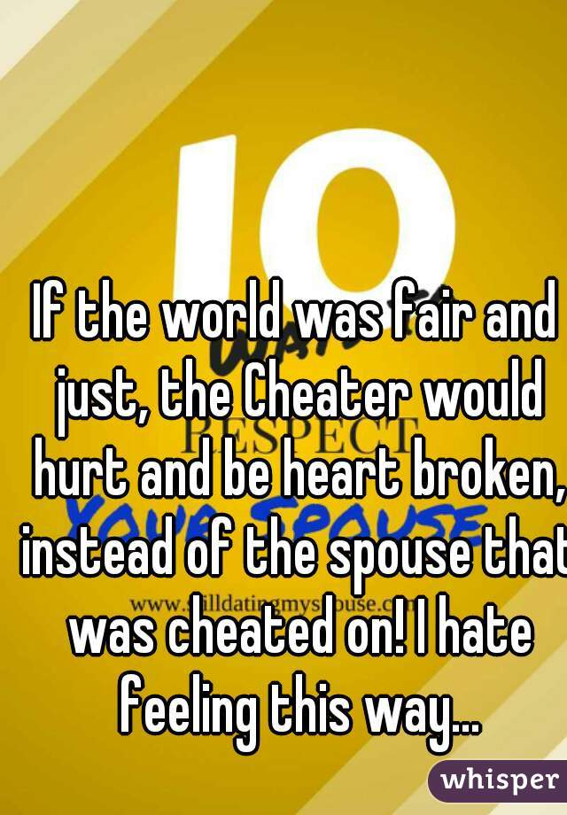If the world was fair and just, the Cheater would hurt and be heart broken, instead of the spouse that was cheated on! I hate feeling this way...
