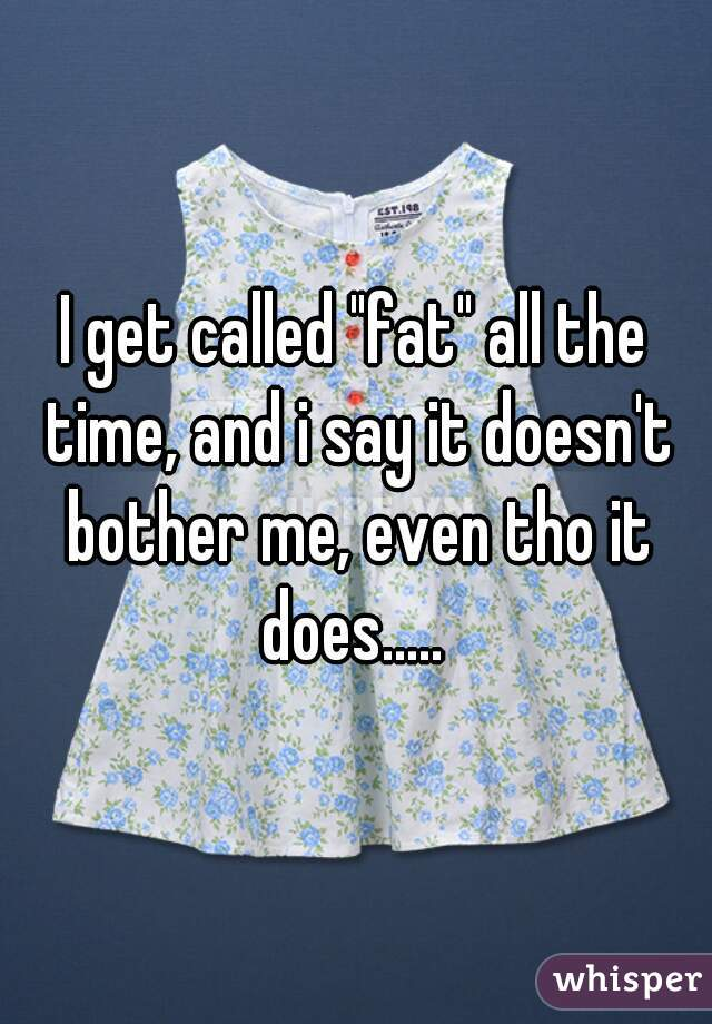 """I get called """"fat"""" all the time, and i say it doesn't bother me, even tho it does....."""