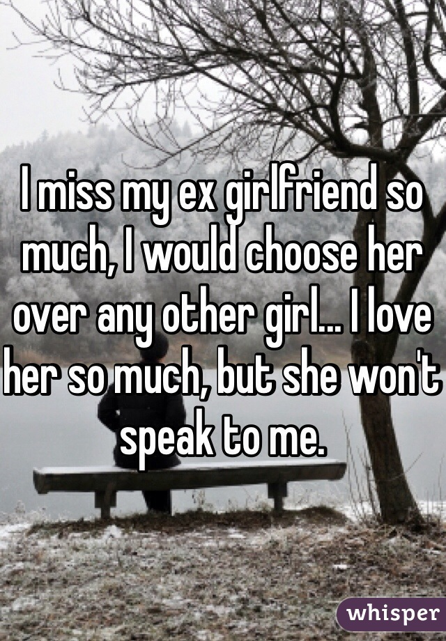 I miss my ex girlfriend so much, I would choose her over any other girl... I love her so much, but she won't speak to me.