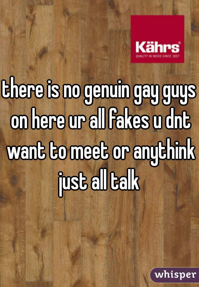 there is no genuin gay guys on here ur all fakes u dnt want to meet or anythink just all talk