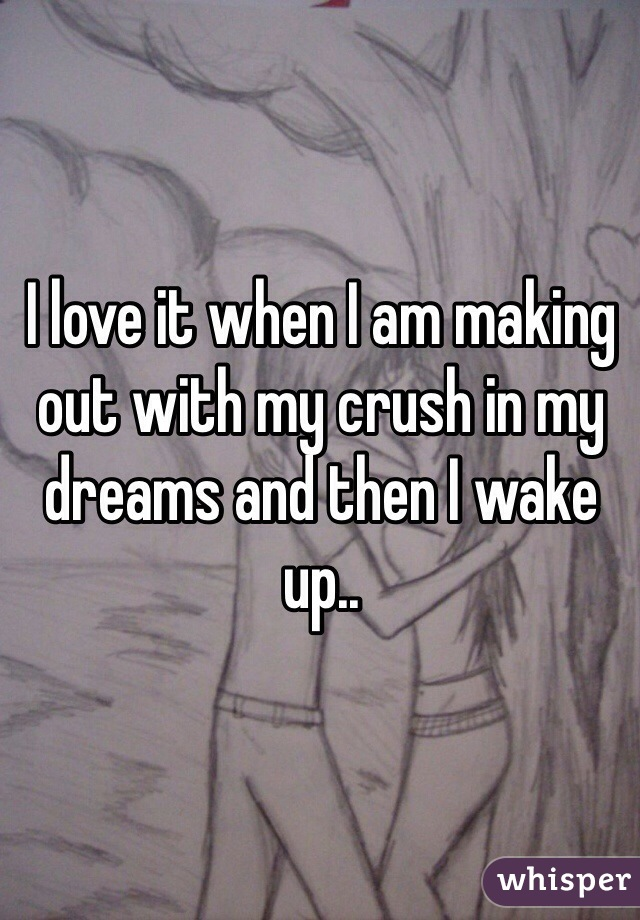 I love it when I am making out with my crush in my dreams and then I wake up..