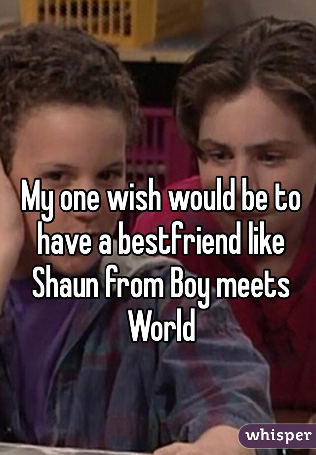 My one wish would be to have a bestfriend like Shaun from Boy meets World