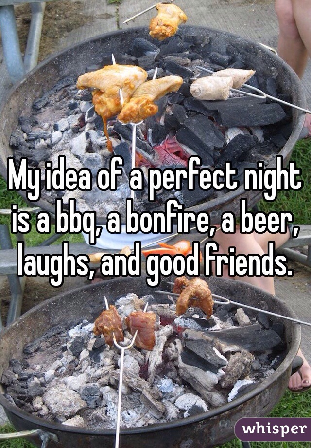 My idea of a perfect night is a bbq, a bonfire, a beer, laughs, and good friends.